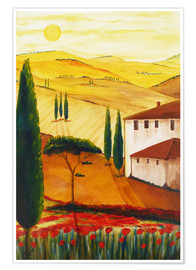 Poster  Tuscan idyll 3 (brighter) - Christine Huwer