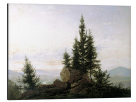 Tableau en aluminium  View into the Elbe valley - Caspar David Friedrich