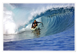 Poster Surfing blue paradise island wave