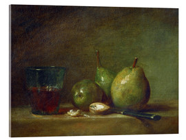 Verre acrylique  Pears, nuts, and a cup of wine - Jean Simeon Chardin