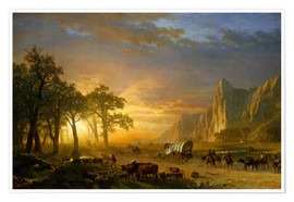 Poster  Wagon Train on the Prairie - Albert Bierstadt