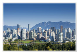 Poster  Skyline of Vancouver with mountains on the horizon - E. O. Reed