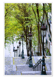 Poster  Steps and lanterns lead to the Place du Sacre Coeur - Walter Bibikow