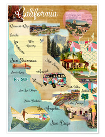 Poster Collage California (anglais)