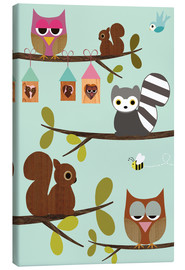 GreenNest - Happy Tree with cute animals - owls, squirrel, racoon