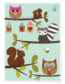 Poster  Animaux sur des branches - GreenNest