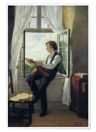 Poster  The violinist at the window in 1861 - Otto Franz Scholderer