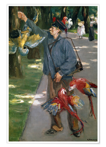 Poster Man with Parrots