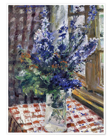 Poster  Glass vase with Larkspur. 1924 - Lovis Corinth