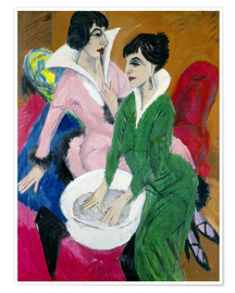 Poster  Two women with sink (The Sisters) - Ernst Ludwig Kirchner