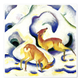 Poster  Deer in the snow - Franz Marc