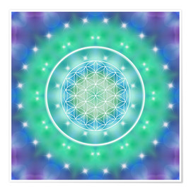 Poster  Flower of Life - Relaxation - Dolphins DreamDesign