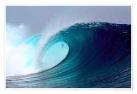 Poster  Tropical blue surfing wave - Paul Kennedy