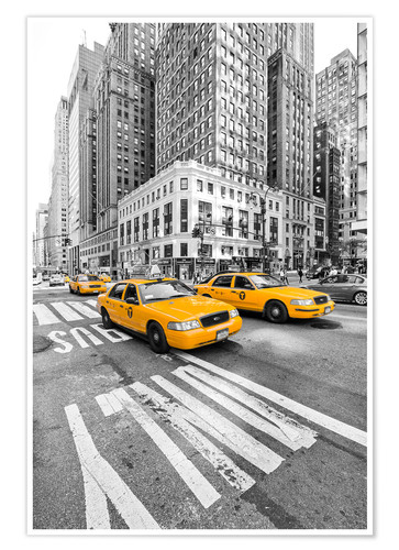 Poster Taxis jaunes, New York