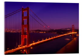 Tableau en verre acrylique  Golden Gate Bridge by Night - Melanie Viola