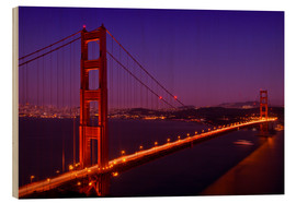 Tableau en bois  Golden Gate Bridge by Night - Melanie Viola