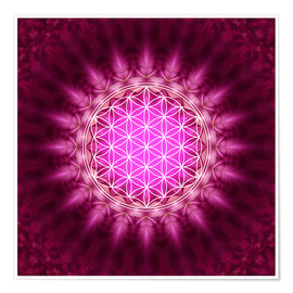 Poster  Flower of life - Symbol harmony and balance - red - Lava Lova