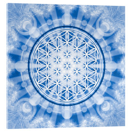 Tableau en verre acrylique  flower of life blue - symbol harmony and balance - blue - Lava Lova