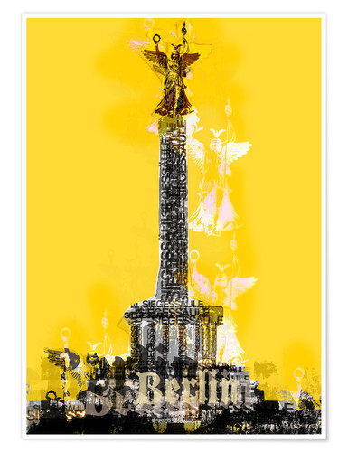 Poster Berlin Victory Column (on Yellow)
