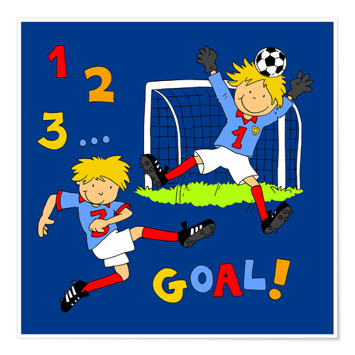 Poster boys playing soccer, Goal!