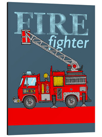 Tableau en aluminium  Fire fighter, camion de pompier - Fluffy Feelings