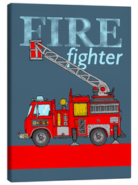Toile  fire fighter fire truck - Fluffy Feelings