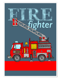 Poster Fire fighter, camion de pompier