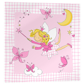 Tableau en verre acrylique  flying fairy with butterflies on checkered background - Fluffy Feelings