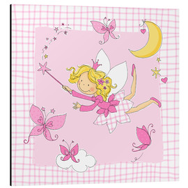 Alu-Dibond  flying fairy with butterflies on checkered background - Fluffy Feelings