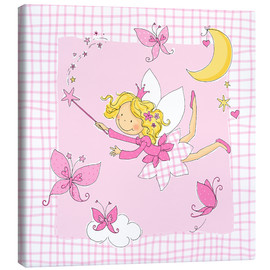 Tableau sur toile  flying fairy with butterflies on checkered background - Fluffy Feelings