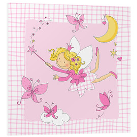 Tableau en PVC  flying fairy with butterflies on checkered background - Fluffy Feelings