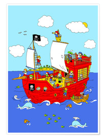 Poster pirate ship scene