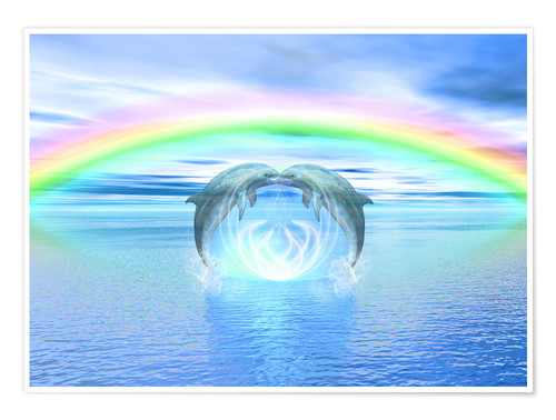 Poster Dolphins Rainbow Healing