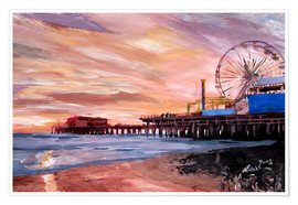 Poster  Santa Monica Pier at Sunset - M. Bleichner