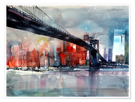 Poster  New York, pont de Brooklyn IV - Johann Pickl