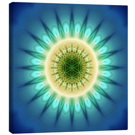 Tableau sur toile  mandala blue light with Flower of Life - Christine Bässler