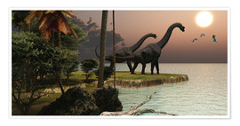 Poster  Two Brachiosaurus dinosaurs - Corey Ford