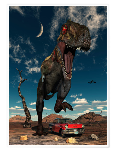 Poster A Tyrannosaurus Rex about to crush a Cadillac with his feet.