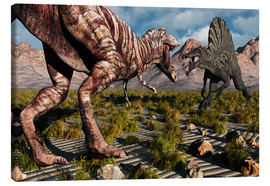 Tableau sur toile  A confrontation between a T. Rex and a Spinosaurus dinosaur - Mark Stevenson