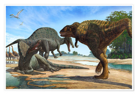 Poster A Spinosaurus blocks the path of Carcharodontosaurus