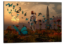 Tableau en aluminium  A astronaut is greeted by a swarm of butterflies on an alien world. - Mark Stevenson