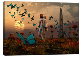 Tableau sur toile  A astronaut is greeted by a swarm of butterflies on an alien world. - Mark Stevenson