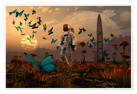 Poster  A astronaut is greeted by a swarm of butterflies on an alien world. - Mark Stevenson