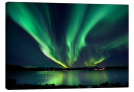 Tableau sur toile  Aurora Borealis over Tjeldsundet in Troms County - Arild Heitmann