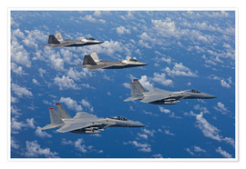 Poster  Two F-15 Eagles and F-22 - HIGH-G Productions