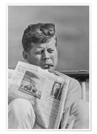 Poster  John F. Kennedy with a newspaper - John Parrot