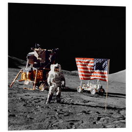 Forex  Apollo 17 astronaut stands near the United States flag - Stocktrek Images