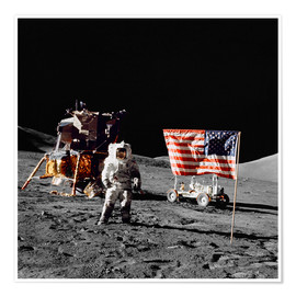 Poster  Apollo 17 astronaut stands near the United States flag - Stocktrek Images