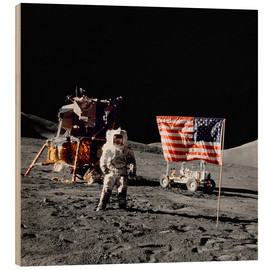 Bois  Apollo 17 astronaut stands near the United States flag - Stocktrek Images