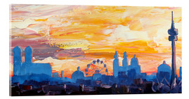 Verre acrylique  Munich Skyline at Dusk with Alps - M. Bleichner